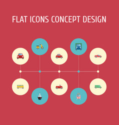 flat icons transport carriage boat and other vector image vector image