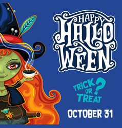 halloween witch poster with lettering vector image vector image