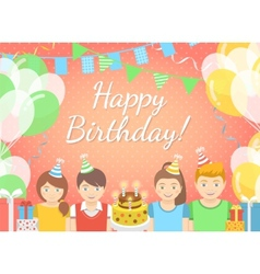 Kids Birthday Party Pink Background vector image