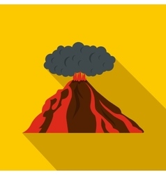 Volcano erupting icon flat style vector image vector image