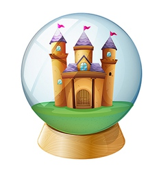 A castle inside a crystal ball vector image vector image