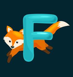 animals alphabet for kids fish letter f cartoon vector image vector image