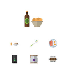 flat icon life set of beer with chips boardroom vector image