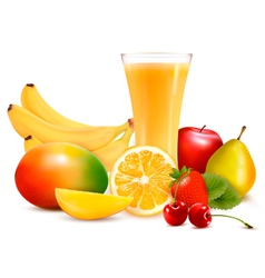 Fresh fruit and juice vector image vector image