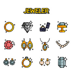 jeweler icons set vector image vector image