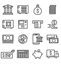 line bank icons set vector image vector image
