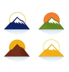 mountain and tourist icons vector image vector image