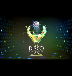 Neon disco cocktail party background vector