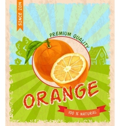 Orange retro poster vector image vector image