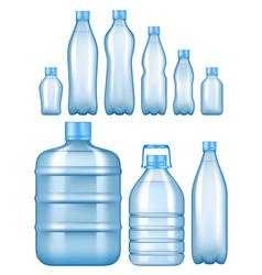 realistic plastic water bottles set vector image