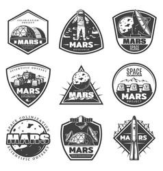vintage monochrome mars research labels set vector image