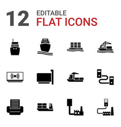 12 port icons vector