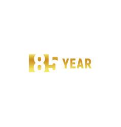 85 year happy birthday gold logo on white vector image