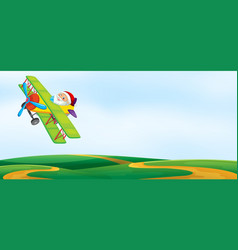 a santa riding airplane template vector image