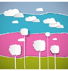 Abstract Trees Clouds on Retro Torn Paper vector image