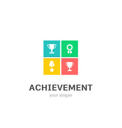 achievement icons flat style logo design with cup vector image