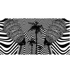 Afro women batik optical art style fabric printing vector