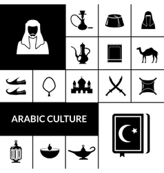 Arabic culture black icons set vector