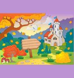 Autumn theme with castle 2 vector