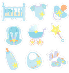 Baby boy items icons vector