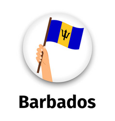 barbados flag in hand round icon vector image