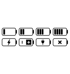 Battery icon set charge level indicator vector