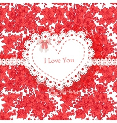 Beautiful Valentine card of wild scarlet flowers vector