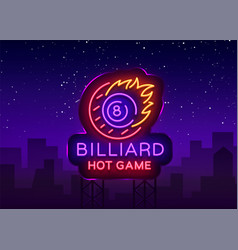 Billiards neon sign billiard hot game logo vector
