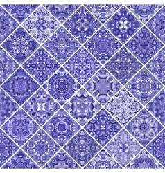 Blue patchwork tile design vector