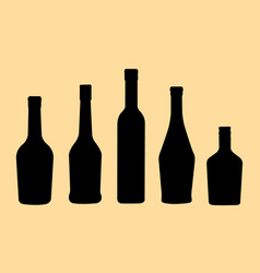 brandy bottles silhouette vector image