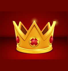bright golden crown on white background vector image
