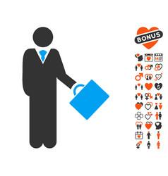 Businessman icon with love bonus vector