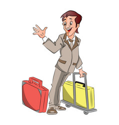 Businessman with luggage waving goodbye vector
