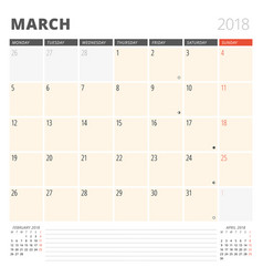 calendar planner for march 2018 design template vector image