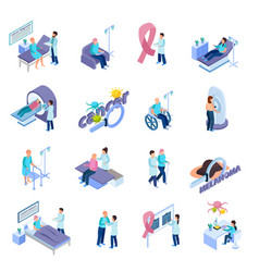cancer control isometric concept set vector image