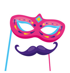 carnival mask and mustache vector image
