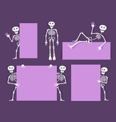 cartoon skeleton bony character with vector image