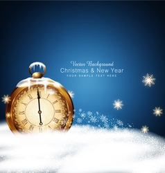 Christmas background with old clocks snow vector