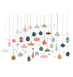 Christmas balls decorative winter season toys vector