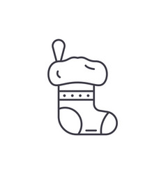 christmas sock line icon concept christmas sock vector image