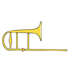 color hand-drawn musical instrument - trombone vector image
