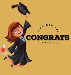 congrats graduation class of 2018 flat colorful vector image