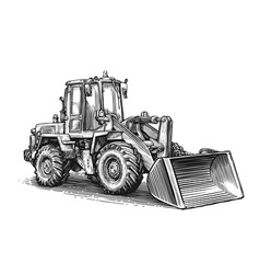 construction machine sketch hand drawn tractor vector image