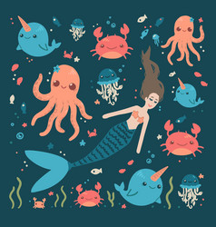 cute sea characters mermaid crab fish octopus vector image
