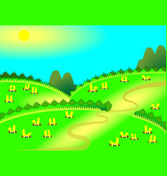 cute yellow rabbits in burrows sitting vector image