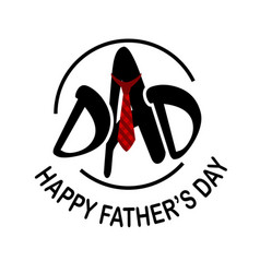 Dad red necktie happy father day white background vector