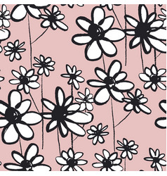 daisy sketch color seamless pattern vector image