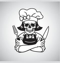 dead lady skull chef logo grinning fork knife vector image