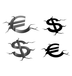 Dollar and euro cracked symbols vector