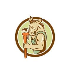 Donkey Plumber Monkey Wrench Circle Retro vector image
